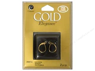 beading & jewelry making supplies: Cousin Elegance 14K Gold Plated Lever Back Earring 2pc