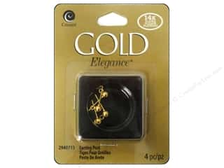beading & jewelry making supplies: Cousin Elegance 14K Gold Plated Earring Post 4pc