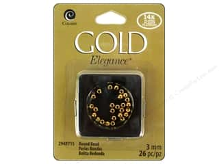 craft & hobbies: Cousin Elegance Metal Bead 3 mm Round 26 pc. 14K Gold Plate