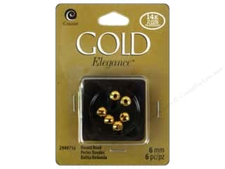 Cousin Elegance Metal Bead 6 mm Round 6 pc. 14K Gold Plate