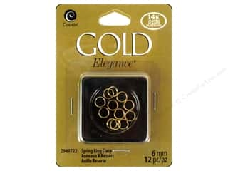 beading & jewelry making supplies: Cousin Elegance 14K Gold Plated Split Ring 12pc
