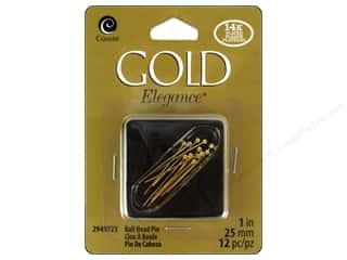 Cousin Elegance Head Pins 1 in. 12 pc. Ball 14K Gold Plate