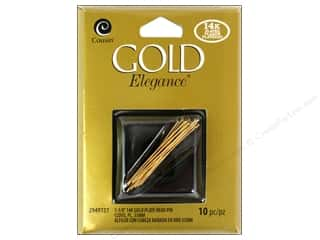 Cousin Elegance Head Pins 1 1/4 in. 10 pc. 14K Gold Plate