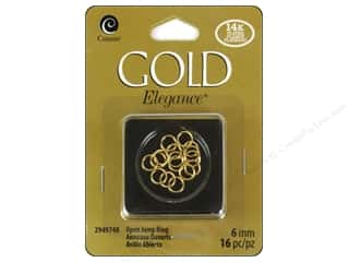 beading & jewelry making supplies: Cousin Elegance Jump Rings 6 mm 16 pc. 14K Gold Plate