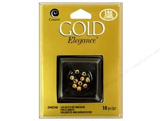 craft & hobbies: Cousin Elegance Metal Bead 4 mm Round 10 pc. 14K Gold Plate