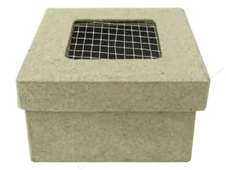 PA Paper Mache Mini Square Box with Wire on Lid 2 1/2 in.
