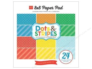 Cardstock  8x8: Echo Park Paper Pad 8 x 8 in. Dots & Stripes Summer