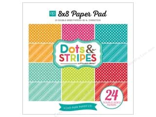 Cardstock  8x8: Echo Park Paper Pad 8 x 8 in. Paper Dots & Stripes Brights