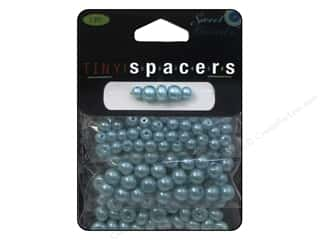 beading & jewelry making supplies: Sweet Beads Tiny Spacers Glass Pearl Assorted Size 150 pc. Light Blue