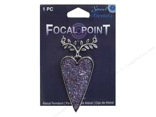 beading & jewelry making supplies: Sweet Beads EWC Focal Point Pendant Metal Heart Purple/Silver 1pc