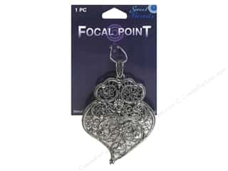 beading & jewelry making supplies: Sweet Beads EWC Focal Point Pendant Metal Paisley #1 Silver 1pc