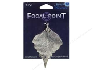 beading & jewelry making supplies: Sweet Beads EWC Focal Point Pendant Metal Leaf Silver 1pc
