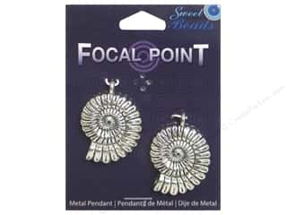 Sweet Beads EWC Focal Point Pendant Metal Nautilus Silver 2pc