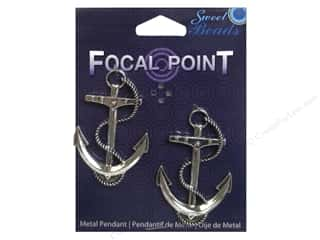 Sweet Beads EWC: Sweet Beads EWC Focal Point Pendant Metal Anchor Silver 2pc