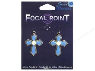 Sweet Beads EWC Focal Point Pendant Metal Cross Turquoise/Silver 2pc