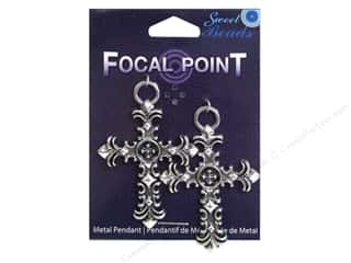 Sweet Beads EWC Focal Point Pendant Metal Cross 60mm Silver 2pc