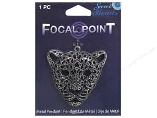 beading & jewelry making supplies: Sweet Beads EWC Focal Point Pendant Metal Cougar Silver 1pc