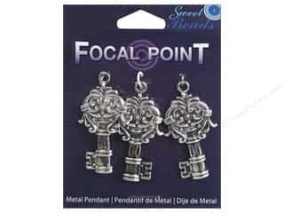 Sweet Beads EWC Focal Point Pendant Metal Key Silver 3pc
