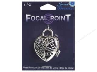 beading & jewelry making supplies: Sweet Beads EWC Focal Point Pendant Metal Heart Locket Silver 1pc
