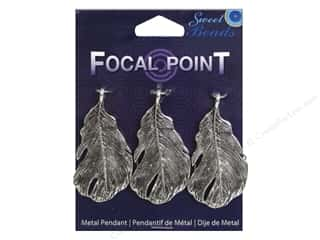 beading & jewelry making supplies: Sweet Beads EWC Focal Point Pendant Metal Feather 48mm Silver 3pc