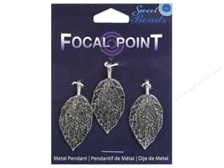 beading & jewelry making supplies: Sweet Beads EWC Focal Point Pendant Metal Leaf 40mm Silver 3pc