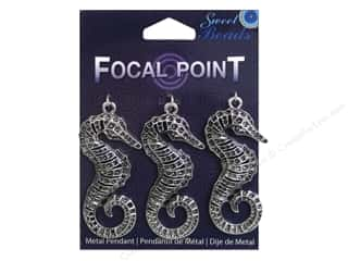 Sweet Beads EWC Focal Point Pendant Metal Seahorse Silver 3pc