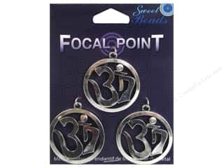 beading & jewelry making supplies: Sweet Beads EWC Focal Point Pendant Metal OM Silver 3pc