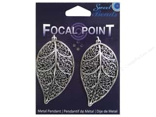 Sweet Beads EWC Focal Point Pendant Metal Filigree Leaf Silver 2pc
