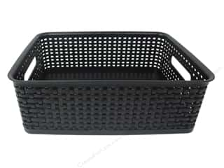 scrapbooking storage: Storage Studios Weave Design Plastic Bin Medium Black
