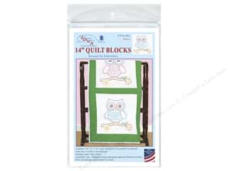 square hoop: Jack Dempsey 14 in. Quilt Blocks 6 pc. Owls