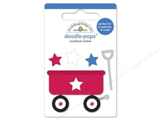 Clearance Doodlebug Doodle Pops Stickers: Doodlebug Doodle-Pops 3-D Stickers Patriotic Picnic Little Wagon