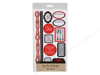 Darice Sticker Recipe Cutlery Black and Red Icons and Alphabet