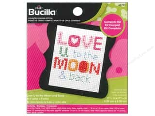 yarn & needlework: Bucilla Counted Cross Stitch Kit 2 1/2 in. Mini Love You To The Moon & Back