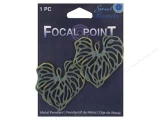 beading & jewelry making supplies: Sweet Beads EWC Focal Point Pendant Metal Leaves Blue 2pc