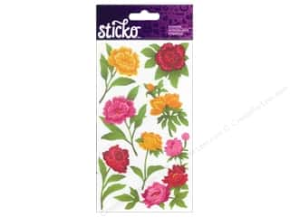 stickers  -3D -cardstock -fabric: EK Sticko Stickers Peonies