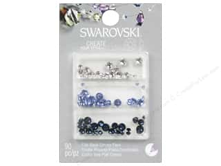 beading & jewelry making supplies: Cousin Swarovski Flatback Rhinestone Mix 90 pc. Cobalt Blue