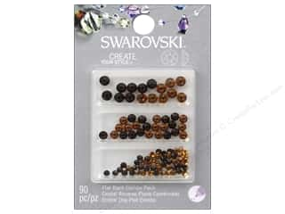beading & jewelry making supplies: Cousin Swarovski Flatback Rhinestone Mix 90 pc. Topaz/Smoke Topaz
