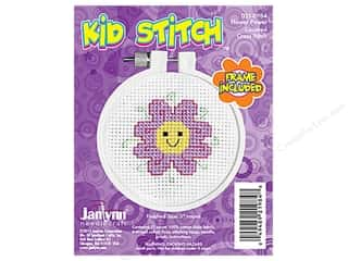 yarn & needlework: Janlynn Kid Stitch Cross Stitch Kit 3 in. Flower Power