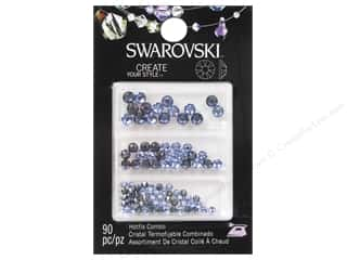 Rhinestones: Cousin Swarovski Hotfix Rhinestones Mix Light Sapphire/Sapphire Satin 90 pc.