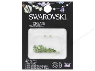 beading & jewelry making supplies: Cousin Swarovski Hotfix Rhinestones 3 mm 42 pc. Peridot