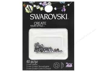 Rhinestones: Cousin Swarovski Hotfix Rhinestones 3 mm 40 pc. Silver Night