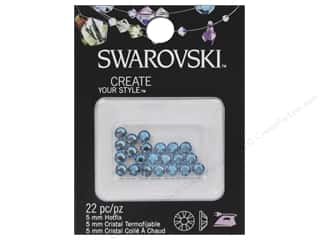 Cousin Swarovski Hotfix Rhinestones 5 mm 22 pc. Aquamarine