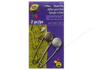 jewelry safety pin: LoRan /Dritz Shawl Pin Metal Vintage Flower Pewter/Nickel 2pc