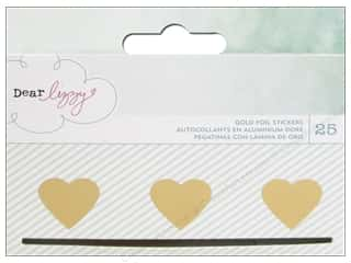 American Crafts Stickers Dear Lizzy Fine & Dandy Hearts Gold Foil