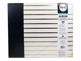 Memory Albums / Scrapbooks / Photo Albums: We R Memory Keepers 3-Ring Album 12 x 12 in. Classic Leather Navy with Gold Stripes