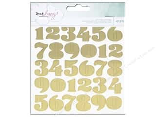stickers: American Crafts Stickers Dear Lizzy Fine & Dandy Numbers, Hearts & Circles Gold Foil