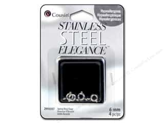 beading & jewelry making supplies: Cousin Elegance Metal Spring Ring Clasp 6 mm 4 pc. Stainless Steel