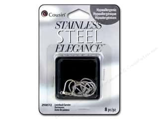 beading & jewelry making supplies: Cousin Elegance Metal Leverback Earwire 16 x 11 mm 8 pc. Stainless Steel