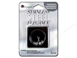 beading & jewelry making supplies: Cousin Elegance Metal Earring Post Rhinestone 14 x 8 mm 2 pc. Stainless Steel