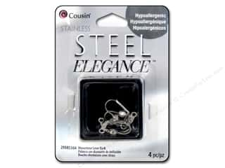 beading & jewelry making supplies: Cousin Elegance Metal Earring Leverback Rhinestone 19 x 5 mm 4 pc. Stainless Steel
